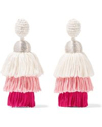 Oscar de la Renta - Tiered Tasseled Beaded Clip Earrings - Lyst