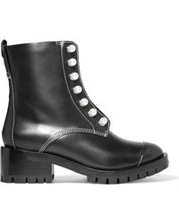 3.1 Phillip Lim - Lug Sole Zipper Embellished Leather Ankle Boots - Lyst