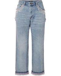 Marc Jacobs - Cropped Bead-embellished Boyfriend Jeans - Lyst