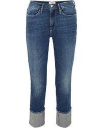 FRAME - Le High Big Cuff Straight-leg Jeans - Lyst