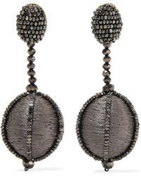Oscar de la Renta - Silk And Bead Clip Earrings - Lyst