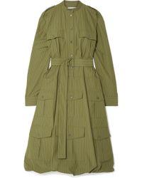 JW Anderson - Belted Pinstriped Cotton-poplin Dress - Lyst