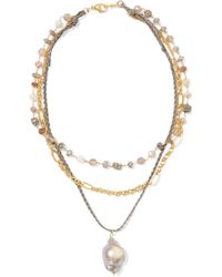 Chan Luu - Layered Gold-plated And Cord Multi-stone Necklace Gold One Size - Lyst