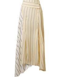 3.1 Phillip Lim - Asymmetric Striped Twill And Satin Midi Skirt - Lyst