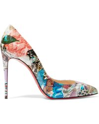 Christian Louboutin - Pigalle Follies 100 Printed Patent-leather Court Shoes - Lyst