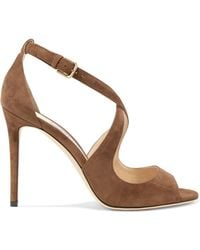 Jimmy Choo - Emily 100 Suede Sandals - Lyst