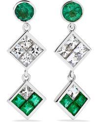 Ileana Makri - Double Dangling 18-karat White Gold, Emerald And Sapphire Earrings White Gold One Size - Lyst