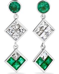 Ileana Makri - Double Dangling 18-karat White Gold, Emerald And Sapphire Earrings - Lyst