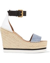 See By Chloé - Denim And Leather Espadrille Wedge Sandals - Lyst