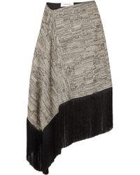 Marques'Almeida - Asymmetric Fringed Cotton-blend Midi Skirt - Lyst