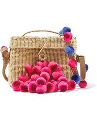 Nannacay | Roge Pompom-embellished Leather-trimmed Woven Raffia Shoulder Bag | Lyst