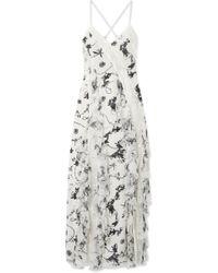 204defefc654 Alice + Olivia - Robe Longue En Crêpe De Chine De Soie à Imprimé Fleuri Et