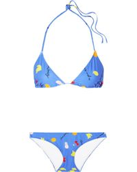 Ganni | Dexies Printed Triangle Bikini | Lyst