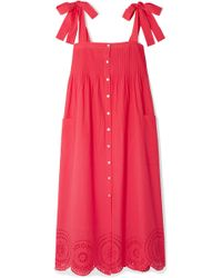 HATCH - Sylvie Broderie Anglaise Cotton-voile Midi Dress - Lyst