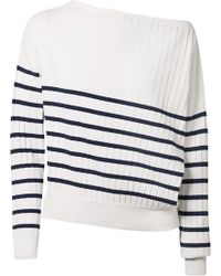 Jason Wu - Off-the-shoulder Striped Stretch-knit Sweater - Lyst