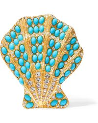Kenneth Jay Lane - Gold-tone, Turquoise And Crystal Brooch Turquoise One Size - Lyst