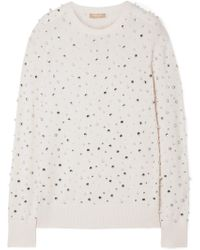 Michael Kors - Faux Pearl And Crystal-embellished Cashmere Jumper - Lyst