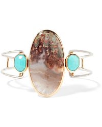 Melissa Joy Manning - 14-karat Gold, Sterling Silver, Turquoise And Agate Cuff Gold One Size - Lyst
