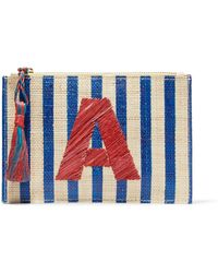 Kayu - Alphabet Embroidered Striped Woven Straw Pouch - Lyst
