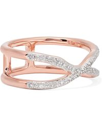Monica Vinader - Riva Wave Cross Rose Gold Vermeil Diamond Ring - Lyst