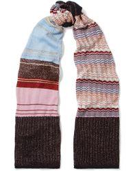 Missoni - Striped Metallic Crochet-knit Scarf - Lyst