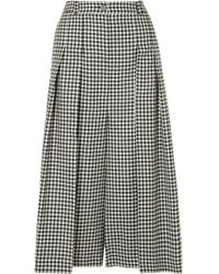 McQ - Atami Pleated Gingham Wool-twill Wide-leg Pants - Lyst