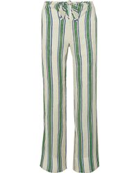 Tory Burch - Awning Striped Linen-gauze Wide-leg Trousers - Lyst