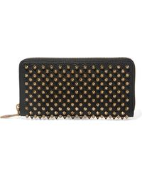 Christian Louboutin - Panettone Spiked Textured-leather Wallet - Lyst