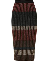 By Malene Birger - Hollis Striped Metallic Ribbed-knit Midi Skirt - Lyst