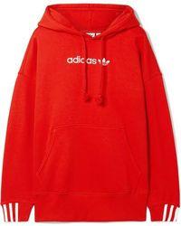 adidas Originals - Coeeze Embroidered Striped Organic Cotton-blend Jersey Hoodie - Lyst