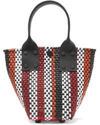 Truss - Le Sac Mini Striped Woven Raffia-effect Tote - Lyst