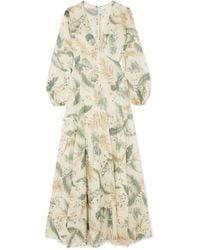 Zimmermann - Printed Cotton-voile Maxi Dress - Lyst