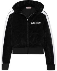 Palm Angels - Cropped Striped Chenille Hoodie - Lyst