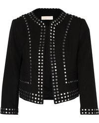 MICHAEL Michael Kors - Cropped Studded Crepe Jacket - Lyst
