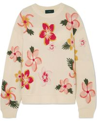 Alanui - Oversized Embroidered Floral-intarsia Cashmere Jumper - Lyst