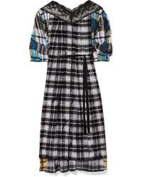 Marc Jacobs - Lace-paneled Plaid Silk-voile Midi Dress - Lyst
