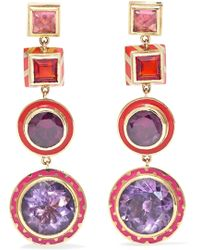Alice Cicolini - Memphis Candy 14-karat Gold And Enamel Multi-stone Earrings - Lyst