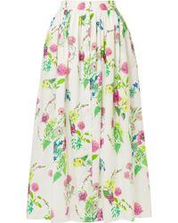 MDS Stripes - Floral-print Cotton-poplin Maxi Skirt - Lyst