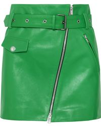 Sonia Rykiel - Zip-embellished Belted Leather Mini Skirt - Lyst