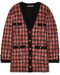 Alessandra Rich - Oversized Bouclé-tweed Cardigan - Lyst