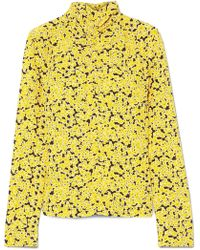 Cedric Charlier - Ruched Floral-print Silk Turtleneck Top - Lyst