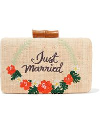 Kayu - Just Married Embroidered Woven Straw Clutch - Lyst