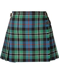 Christopher Kane - Pleated Checked Wool Wrap Mini Skirt - Lyst