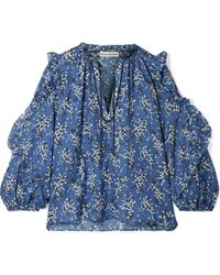 Ulla Johnson - Manet Floral-print Cotton And Silk-blend Blouse - Lyst