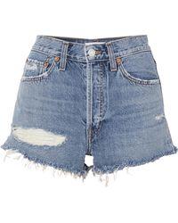 Solid & Striped - + Re/done The Malibu Distressed Denim Shorts - Lyst