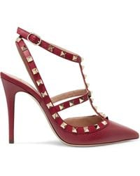 Valentino - Rockstud Textured-leather Court Shoes - Lyst