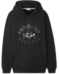 KENZO - Embroidered Cotton-jersey Hooded Top - Lyst