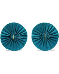 Katerina Makriyianni - Fan Gold-plated Silver, Silk And Zircon Earrings - Lyst