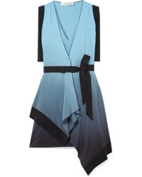 Mugler - Draped Ombré Silk Crepe De Chine Wrap Dress - Lyst