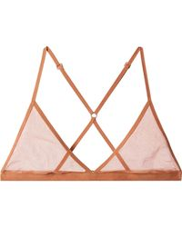 Skin - Stretch Pima Cotton-tulle Soft-cup Triangle Bra - Lyst